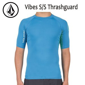 VOLCOM,ボルコム/17SP/ S/S Thrashguard・半袖ラッシュガード/VIBES S/S Thrashguard・N0111701/DEEP WATER・ブルー/S・M・Lサイズ/サーフィン/マリンスポーツ|selfishsurf