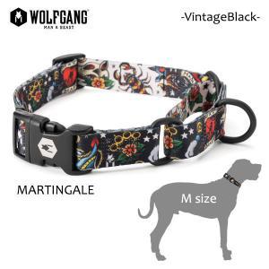 WOLFGANG MAN&BEAST・ウルフギャング/犬用/ハーフチョーク首輪/VintageBlack MARTINGALE/Mサイズ/中型犬/スカル/タトゥー/AMERICAN MADE/21|selfishsurf