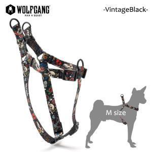 WOLFGANG MAN&BEAST・ウルフギャング/犬用/ハーネス/VintageBlack HARNESS/Mサイズ/中型犬/スカル/タトゥー/AMERICAN MADE/21|selfishsurf
