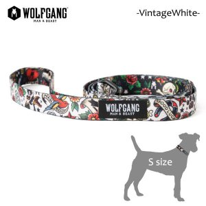WOLFGANG MAN&BEAST・ウルフギャング/犬用/首輪/リーシュ/リード/VintageWhite LEASH/Sサイズ/小型犬/AMERICAN MADE/スカル/タトゥー/21|selfishsurf
