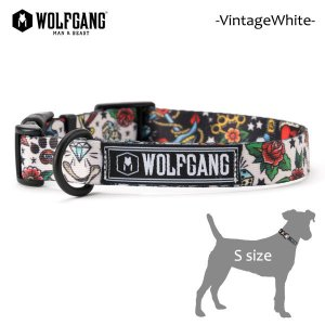 WOLFGANG MAN&BEAST・ウルフギャング/犬用/首輪/VintageWhite COLLAR/Sサイズ/小型犬/スカル/タトゥー/AMERICAN MADE/21|selfishsurf