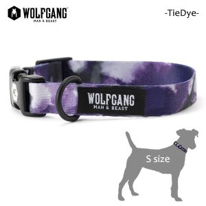 WOLFGANG MAN&BEAST・ウルフギャング/犬用/首輪/TieDye COLLAR/Sサイズ/小型犬/タイダイ柄/パープル/AMERICAN MADE/21|selfishsurf