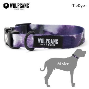 WOLFGANG MAN&BEAST・ウルフギャング/犬用/首輪/TieDye COLLAR/Mサイズ/中型犬/タイダイ柄/パープル/AMERICAN MADE/21|selfishsurf