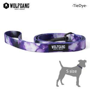 WOLFGANG MAN&BEAST・ウルフギャング/犬用/首輪/リーシュ/リード/TieDye LEASH/Sサイズ/小型犬/タイダイ柄/パープル/AMERICAN MADE/21|selfishsurf