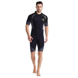 ウエットスーツ メンズ 水着 スプリング ダイビングスーツ ショーティー 半袖 スイムウエア マリン...
