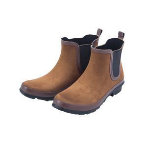 晴雨兼用天然ゴムのレインシューズスウェードL歩きやすい レインブーツ ショート semins-zakaa