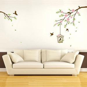 ウォールステッカー 壁 木 花 鳥 鳥の歌 貼ってはがせる のりつき 壁紙シール ウォールシール 植物 木 花 リメイクシート|senastyle