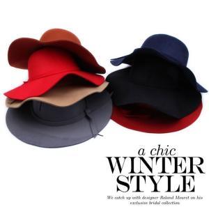 ハット つば広 リボン 女優帽 全7色 つば広 ウール リボン 中折れ ハット 女優帽キャップ レディース おしゃれ 日よけ帽子 日よけキャップ|senastyle