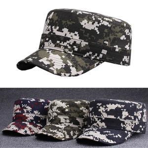 キャップ レディース メンズ 帽子 ワークキャップ 夏 つば短め ミリタリー カモフラージュ 迷彩 モザイク柄 ベルト調節可 シンプル ユニセックス コットン y4|senastyle