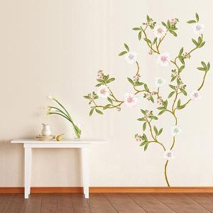 ウォールステッカー 壁 花 モクレン 貼ってはがせる のりつき 壁紙シール ウォールシール 植物 木 花 アジアン リメイクシート|senastyle