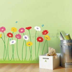 ウォールステッカー 壁 花 ガーベラ 貼ってはがせる のりつき 壁紙シール ウォールシール 植物 木 花 リメイクシート|senastyle