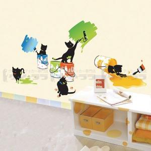 ウォールステッカー 壁 猫 猫のペインティング 貼ってはがせる のりつき 壁紙シール ウォールシール リメイクシート|senastyle