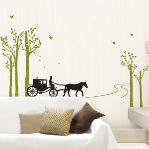 ウォールステッカー 壁 木 木と馬車 貼ってはがせる のりつき 壁紙シール ウォールシール 植物 木 花 動物 リメイクシート|senastyle