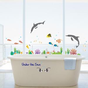 ウォールステッカー 壁 海 イルカと熱帯魚 貼ってはがせる のりつき 壁紙シール ウォールシール 動物 リメイクシート|senastyle