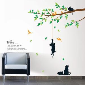 ウォールステッカー 壁 木 花 木で遊んでいる猫 貼ってはがせる のりつき 壁紙シール ウォールシール 植物 リメイクシート|senastyle