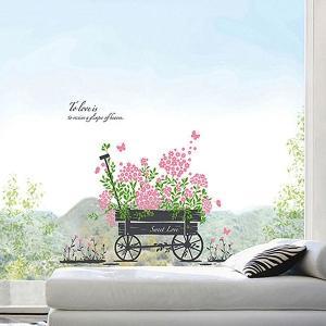 ウォールステッカー 壁 花 スイートラブ 貼ってはがせる のりつき 壁紙シール ウォールシール 植物 木 リメイクシート|senastyle