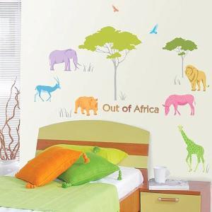 ウォールステッカー 壁 木 動物 アフリカの動物 貼ってはがせる のりつき 壁紙シール ウォールシール リメイクシート|senastyle