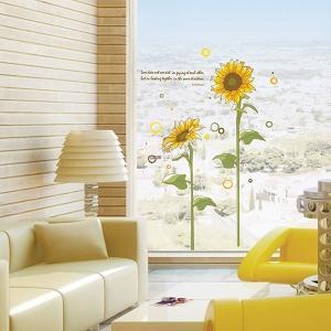 ウォールステッカー 壁 花 ひまわり 貼ってはがせる のりつき 壁紙シール ウォールシール 植物 木 花 リメイクシート|senastyle