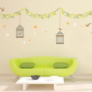 ウォールステッカー 壁 花 花と鳥かご 貼ってはがせる のりつき 壁紙シール ウォールシール 植物 木 花 リメイクシート|senastyle