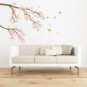 ウォールステッカー 壁 木 梅の花 貼ってはがせる のりつき 壁紙シール ウォールシール 植物 木 花 アジアン リメイクシート|senastyle