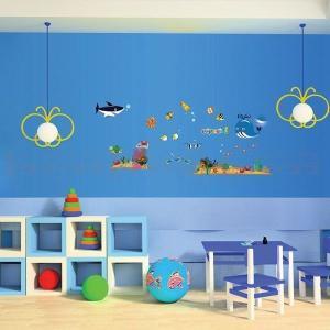 ウォールステッカー 壁 海 水族館 貼ってはがせる のりつき 壁紙シール ウォールシール 動物 リメイクシート|senastyle