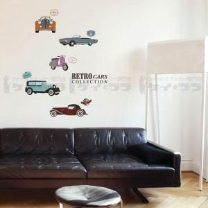 ウォールステッカー 壁 北欧 レトロカー 貼ってはがせる のりつき 壁紙シール ウォールシール リメイクシート|senastyle