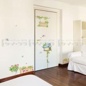 ウォールステッカー 壁 木 花 ハッピーハウス 貼ってはがせる のりつき 壁紙シール ウォールシール 植物 木 花 リメイクシート|senastyle