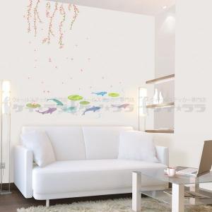 ウォールステッカー 壁 木 花 春の池 貼ってはがせる のりつき 壁紙シール ウォールシール 植物 木 花 アジアン リメイクシート|senastyle