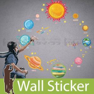 ウォールステッカー 壁 北欧 太陽系 貼ってはがせる のりつき 壁紙シール ウォールシール ウォールステッカー本舗 リメイクシート|senastyle