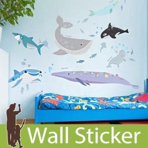 ウォールステッカー 海 魚 クジラ くじら  壁紙シール ウォールステッカー 木 ウォールステッカー 壁紙 リメイクシート|senastyle