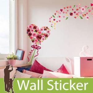ウォールステッカー 花 ハート 春 リボン  壁紙シール ウォールステッカー 木 ウォールステッカー 壁紙 リメイクシート|senastyle