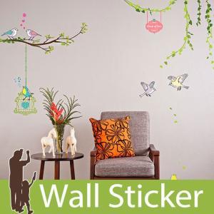 ウォールステッカー 木 鳥 鳥かご  壁紙シール ウォールステッカー 木 ウォールステッカー 壁紙 リメイクシート|senastyle