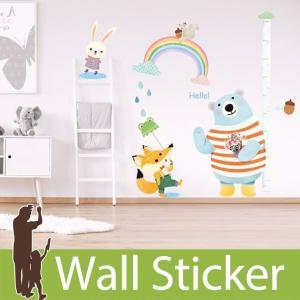 ウォールステッカー 身長計 かわいい どうぶつ 動物 貼ってはがせる のりつき 壁紙シール ウォールシール リメイクシート|senastyle