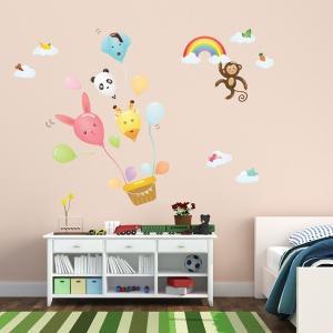 ウォールステッカー 壁 北欧 動物風船 貼ってはがせる のりつき 壁紙シール ウォールシール リメイクシート|senastyle