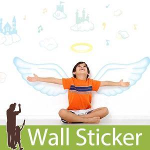 ウォールステッカー 天使の羽 子供部屋 貼ってはがせる のりつき 壁紙シール ウォールシール リメイクシート|senastyle
