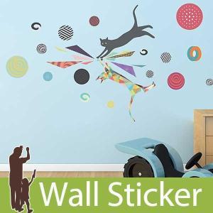 ウォールステッカー 猫 ネコ ねこ 動物 アニマル 貼ってはがせる のりつき 壁紙シール ウォールシール リメイクシート|senastyle