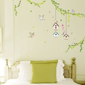 ウォールステッカー 壁 木 森の中の鳥かご 貼ってはがせる のりつき 壁紙シール ウォールシール 植物 木 花 リメイクシート|senastyle