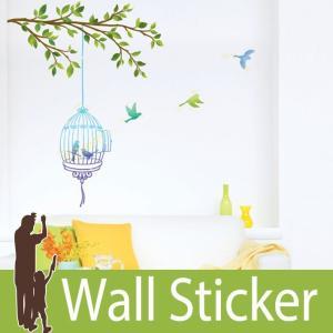 ウォールステッカー 木 鳥 鳥かご 壁紙シール ウォールステッカー 木 ウォールステッカー 壁紙 ウォールシール リメイクシート|senastyle