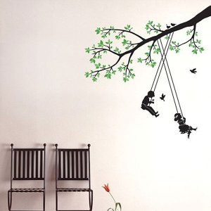 ウォールステッカー 壁 木 木でブランコ 貼ってはがせる のりつき 壁紙シール ウォールシール 植物 木 花 senastyle