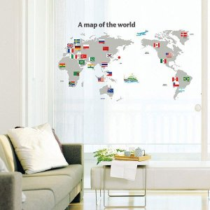 ウォールステッカー 壁 北欧 国旗付き世界地図 貼ってはがせる のりつき 壁紙シール ウォールシール ウォールステッカー本舗|senastyle
