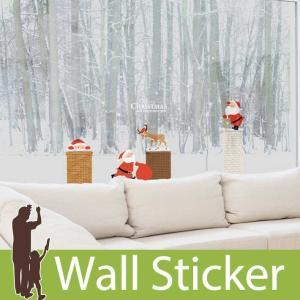 ウォールステッカー 壁 クリスマス 飾り サンタクロース トナカイ 雪 結晶 貼ってはがせる のりつき 壁紙シール ウォールシール ウォールステッカー本舗|senastyle