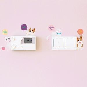 ウォールステッカー スイッチ コンセント アニマル 動物 猫と犬 貼ってはがせる のりつき 壁紙シール ウォールシール|senastyle