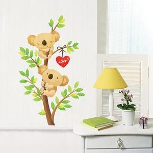 ウォールステッカー 壁 木 木に登るコアラ 貼ってはがせる のりつき 壁紙シール ウォールシール 植物 木 花 動物|senastyle