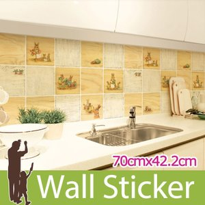 タイルシール キッチン プチラパン ウォールステッカー 壁 柄 タイル シール アルミニウムキッチンシート senastyle