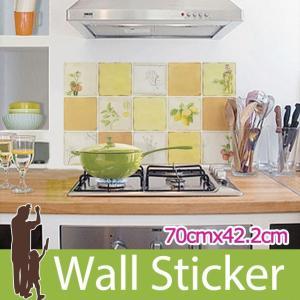 タイルシール キッチン ベジタブル ウォールステッカー 壁 柄 タイル シール アルミニウムキッチンシート|senastyle