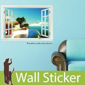 ウォールステッカー 海地中海の窓 窓型 貼ってはがせる のりつき 壁紙シール ウォールシール|senastyle