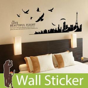 ウォールステッカー 壁 北欧 エッフェル塔とパリ市街 貼ってはがせる のりつき 壁紙シール ウォールシール ウォールステッカー本舗 senastyle