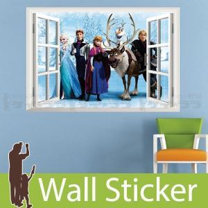 ウォールステッカー ディズニー キャラクター アナと雪の女王 窓 窓型 貼ってはがせる のりつき 壁紙シール ウォールシール|senastyle