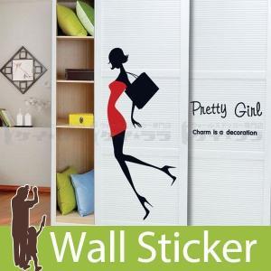 ウォールステッカー 壁 北欧 英語 文字 Pretty Girl(プリティーガール) 貼ってはがせる のりつき 壁紙シール ウォールシール ウォールステッカー本舗 senastyle