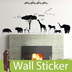 ウォールステッカー 壁 木 アフリカ 動物 モノトーン 貼ってはがせる のりつき 壁紙シール ウォールシール ウォールステッカー本舗|senastyle